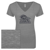 ENZA Ladies Graphite Melange V Neck Tee-Primary Logo Graphite Glitter