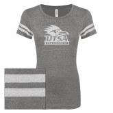 ENZA Ladies Dark Heather/White Vintage Triblend Football Tee-Primary Logo White Soft Glitter