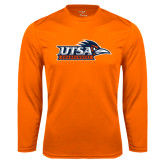 Performance Orange Longsleeve Shirt-UTSA Roadrunners w/ Head Flat