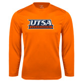 Performance Orange Longsleeve Shirt-UTSA Roadrunners Stacked