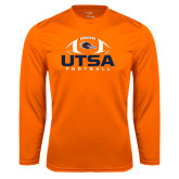 Performance Orange Longsleeve Shirt-UTSA Football Stacked w/ Ball