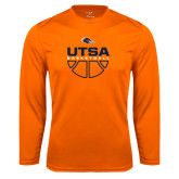 Performance Orange Longsleeve Shirt-UTSA Basketball Half Ball