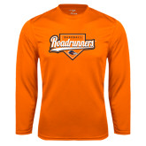 Performance Orange Longsleeve Shirt-Roadrunners Baseball Script w/ Plate