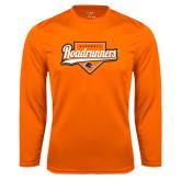Syntrel Performance Orange Longsleeve Shirt-Roadrunners Baseball Script w/ Plate