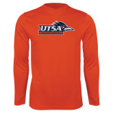 Performance Orange Longsleeve Shirt-UTSA Roadrunners w/ Head Flat