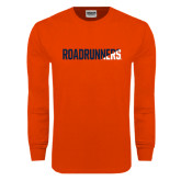 Orange Long Sleeve T Shirt-Roadrunners Two Tone Diagonal