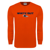 Orange Long Sleeve T Shirt-White Out