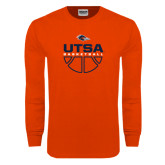 Orange Long Sleeve T Shirt-UTSA Basketball Half Ball
