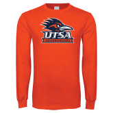 Orange Long Sleeve T Shirt-Primary Logo Distressed