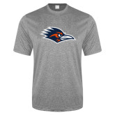 Performance Grey Heather Contender Tee-Roadrunner Head