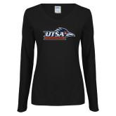 Ladies Black Long Sleeve V Neck Tee-UTSA Roadrunners w/ Head Flat