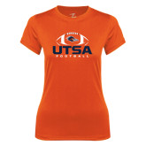 Ladies Syntrel Performance Orange Tee-UTSA Football Stacked w/ Ball