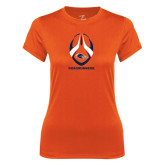Ladies Syntrel Performance Orange Tee-Roadrunners Football Vertical