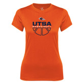 Ladies Syntrel Performance Orange Tee-UTSA Basketball Half Ball