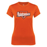 Ladies Syntrel Performance Orange Tee-Roadrunners Baseball Script w/ Plate
