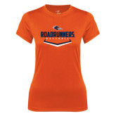 Ladies Syntrel Performance Orange Tee-Roadrunners Baseball Plate
