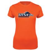 Ladies Syntrel Performance Orange Tee-UTSA Roadrunners w/ Head Flat