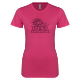 Ladies SoftStyle Junior Fitted Fuchsia Tee-Primary Logo Pink Glitter
