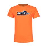 Youth Neon Orange T Shirt-UTSA Roadrunners w/ Head Flat