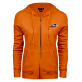ENZA Ladies Orange Fleece Full Zip Hoodie-UTSA Roadrunners w/ Head Flat