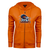 ENZA Ladies Orange Fleece Full Zip Hoodie-Primary Logo