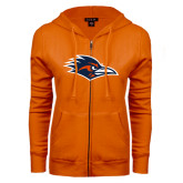 ENZA Ladies Orange Fleece Full Zip Hoodie-Roadrunner Head