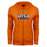 ENZA Ladies Orange Fleece Full Zip Hoodie-UTSA Roadrunners Stacked