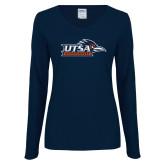 Ladies Navy Long Sleeve V Neck Tee-UTSA Roadrunners w/ Head Flat