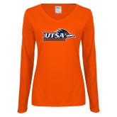Ladies Orange Long Sleeve V Neck Tee-UTSA Roadrunners w/ Head Flat