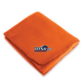Orange Arctic Fleece Blanket-UTSA Roadrunners w/ Head Flat