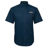 Navy Twill Button Down Short Sleeve-UTSA Roadrunners w/ Head Flat