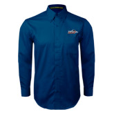 Navy Twill Button Down Long Sleeve-UTSA Roadrunners w/ Head Flat