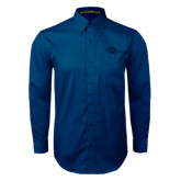 Navy Twill Button Down Long Sleeve-Roadrunner Head Tone