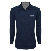 Ladies Navy Twill Button Down Long Sleeve-UTSA Roadrunners Stacked