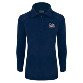 Columbia Ladies Half Zip Navy Fleece Jacket-Primary Logo