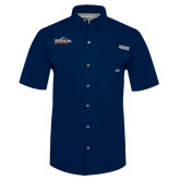 Columbia Bonehead Navy Short Sleeve Shirt-UTSA Roadrunners w/ Head Flat