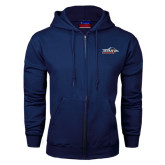 Navy Fleece Full Zip Hoodie-UTSA Roadrunners w/ Head Flat