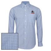 Mens Navy Plaid Pattern Long Sleeve Shirt-Primary Logo