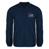V Neck Navy Raglan Windshirt-Primary Logo
