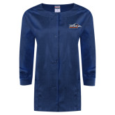 Ladies Navy Snap Front Warm Up Scrub Jacket-UTSA Roadrunners w/ Head Flat