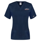 Ladies Navy Two Pocket V Neck Scrub Top-UTSA Roadrunners w/ Head Flat