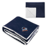 Super Soft Luxurious Navy Sherpa Throw Blanket-Primary Logo