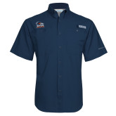 Columbia Tamiami Performance Navy Short Sleeve Shirt-Primary Logo