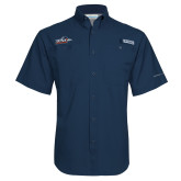 Columbia Tamiami Performance Navy Short Sleeve Shirt-UTSA Roadrunners w/ Head Flat