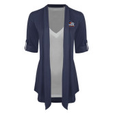 Ladies Navy Drape Front Cardigan-Primary Logo