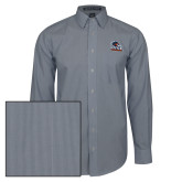 Mens Navy/White Striped Long Sleeve Shirt-Primary Logo