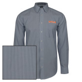 Mens Navy/White Striped Long Sleeve Shirt-UTSA