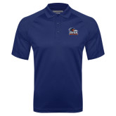 Navy Textured Saddle Shoulder Polo-Primary Logo