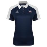 Ladies Adidas Modern Navy Varsity Polo-Primary Logo