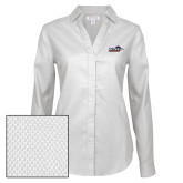 Ladies Red House Diamond Dobby White Long Sleeve Shirt-UTSA Roadrunners w/ Head Flat